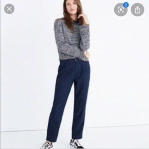 Madewell track trousers blue pinstripe pants